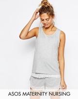 ASOS Maternity - Nursing ASOS Maternity NURSING Double Layer Lace Trim Pajama Tank & Short Set