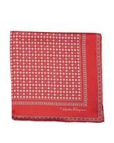 Salvatore Ferragamo Floral Gancio Silk Twill Pocket Square, Red