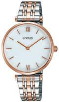 Lorus RRW88EX9 Women's Two Tone Bracelet Strap Watch, Silver/Rose Gold