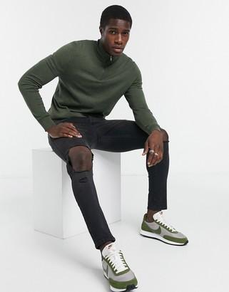 Burton Menswear organic knitted half zip jumper in khaki