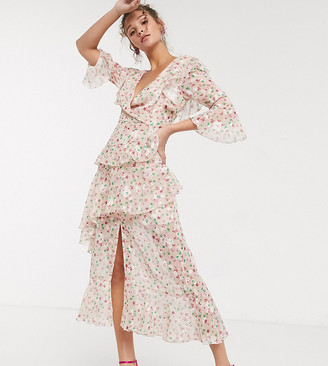 Dark Pink ruffle plunge maxi in blush based ditsy floral