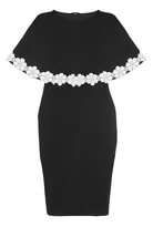 Quiz Curve Black And Cream Lace Trim Overlay Dress