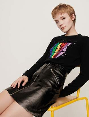 Maje Zipped vinyl-style leather skirt
