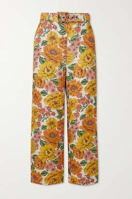 Zimmermann Poppy Cropped Floral-print Linen Wide-leg Pants