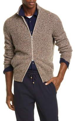 Brunello Cucinelli Melange Cashmere Full Zip Cardigan