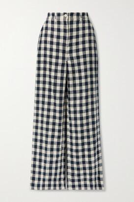 Tory Burch - Gingham Linen Wide-leg Pants - Blue