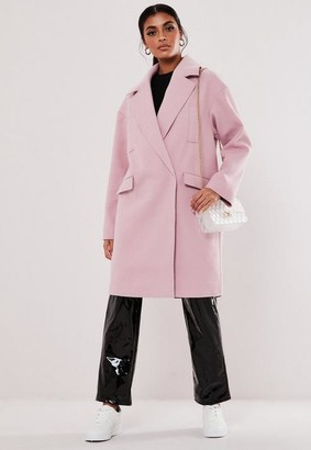 Missguided Blush Raw Edge Formal Coat
