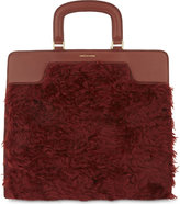 Dries Van Noten Shearling panel leather tote