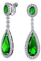 Bling Jewelry Pave Simulated Emerald Cz Teardrop Chandelier Clip On Earrings Rhodium Plated Brass.