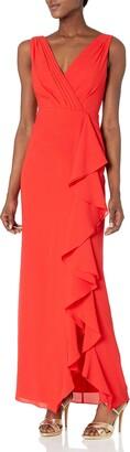 Aidan Mattox Aidan Women's Crepe Chiffon Vneck Gown