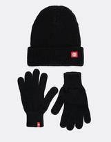 Element Icon Beanie Hat & Gloves Set - Black