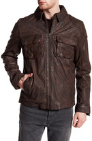 Cole Haan Washed Genuine Leather Trucker Jacket