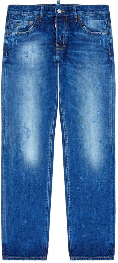 DSQUARED2 Dean Heavily Distressed Straight Leg Jeans