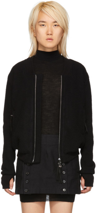 Boris Bidjan Saberi Black Wool and Cashmere Bomber Jacket