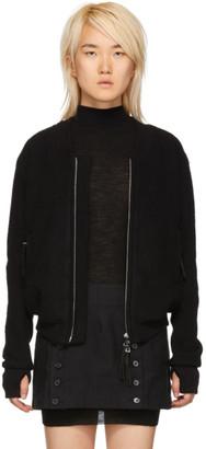 Boris Bidjan Saberi Black Wool and Cashmere Bomber Jacket