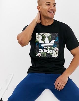 adidas Skateboarding Skateboarding t-shirt with tropical trefoil print in black