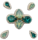 Pink Pewter Emerald Beaded Jeweled Hair Clips
