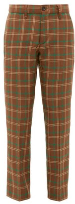 Connolly - High-rise Checked Wool Trousers - Brown Multi