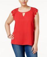 Eyeshadow Trendy Plus Size Crochet-Sleeve Top