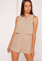 Missguided Crepe Sleeveless Double Layer Romper Camel