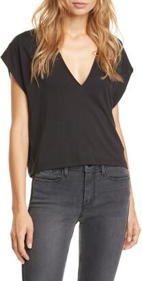 Frame Le High Rise V-Neck Organic Pima Cotton T-Shirt