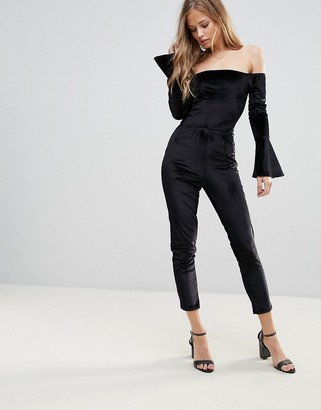Oh My Love Off The Shoulder Flute Sleeve Jumpsuit