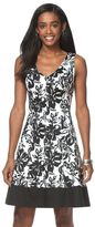 Chaps Women's Floral Fit & Flare Sateen Dress