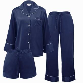 Not Just Pajama Women's 3-Piece Classic Silk Pajamas Set - Navy