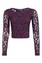 Select Fashion Fashion Womens Purple Lace Long Sleeve Crop - size 16