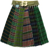 Thumbnail for your product : Chopova Lowena MIDI PLEATED SKIRT WITH BELT M/L Green,Blue,Yellow Wool,Leather