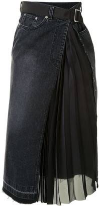 Sacai Asymmetric Denim Midi Skirt