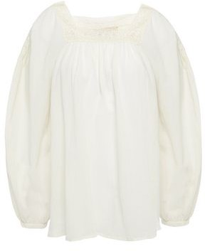 Vanessa Bruno Crochet-trimmed Gathered Cotton-crepe Blouse
