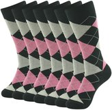 SUTTOS Men's Elite Cushion Comfort Warm Pink Black Argyle Plaid Fancy Patterned Mid Calf Casual Groomsmen Wedding Casual Crew Dress Socks,7 Pairs