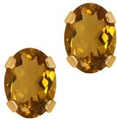 Gem Stone King 1.40 Ct Oval Quartz 14K Yellow Gold 4-prong Stud Earrings 7x5mm