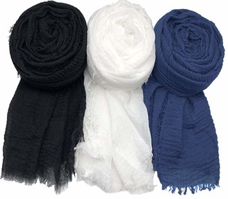 World Of Shawls Pack of 3 Scarf Shawl for All Season Wrap Head Scarves (Pack of Black