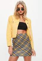 Missguided Black Check Print Scuba Mini Skirt