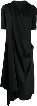 Yohji Yamamoto Side Ruched Detail Asymmetric Dress