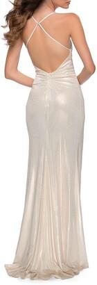 La Femme Ruched Metallic Jersey Halter Gown
