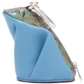 Loewe Frog Coin Purse Leather Key Ring - Blue Multi