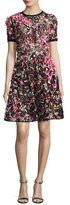 Elie Saab Embellished Short-Sleeve A-Line Dress, Multicolor
