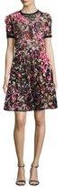Elie Saab Embellished Short-Sleeve A-Line Dress, Multicolor