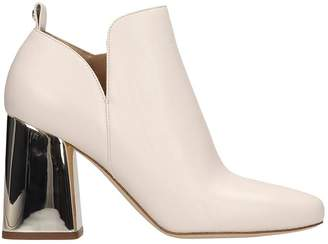 Michael Kors Dixon High Heels Ankle Boots In Beige Leather