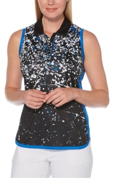 PGA Tour Splatter-Print Sleeveless Golf Polo