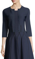 Carolina Herrera Cropped Cardigan with Contrast Piping