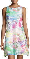 Donna Ricco Floral-Printed Sleeveless Dress, Pink/Blue