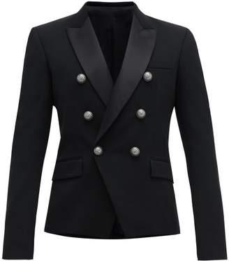 Balmain Double Breasted Wool Blend Blazer - Mens - Black