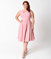 Stop Staring Plus Size 1950s Light Pink Noely Stretch Swing Dress
