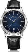 Rotary Watches Rotary Mens Silver Cambridge Watch Black & Blue Dial