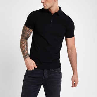 River Island Mens Black essential muscle fit polo shirt