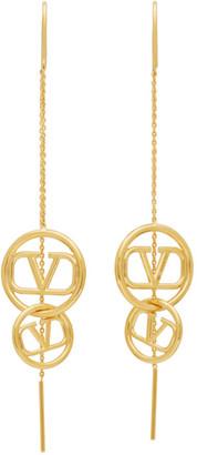 Valentino Gold Garavani Chain VLogo Pendant Earrings